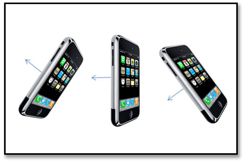 diagram showing three iPhone viewing angles